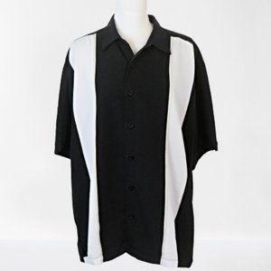 Cubavera Men's Black & White Button Down Shirt XL